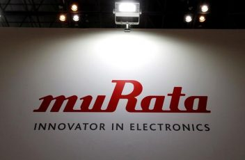 A logo of Murata Manufacturing Co is pictured at CEATEC JAPAN 2016 in Chiba