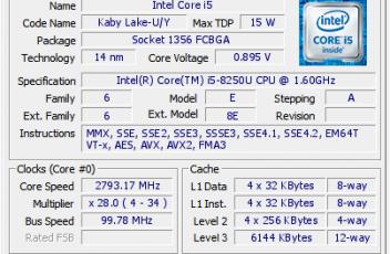 Intel Core i5 8250 3